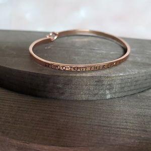 """Slim Gold Message Bracelet - """"We Go Together"""""""